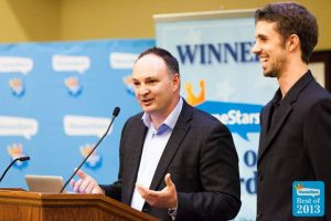 Financeit's Dave Murray (L) and Tyler Horning (R) speaking at the Best Of Awards in Durham Region